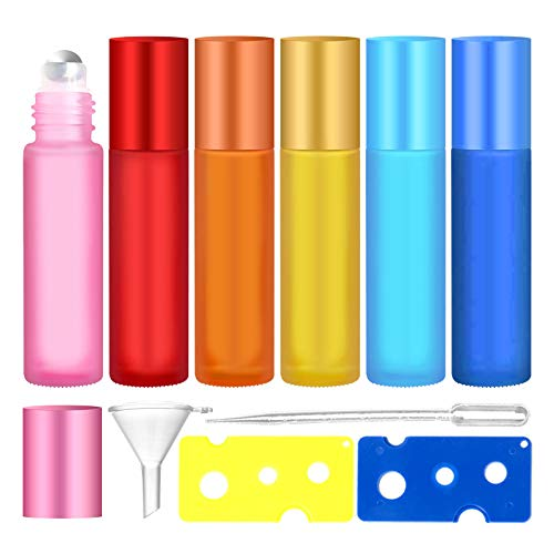 Bottiglie a Rullo per Oli Essenziali, Flacone per Olio Essenziale, Bottiglia di Profumo Roll-on con Sfera In Acciaio Inossidabile, Includere 1 Pipetta, 1 Imbuto, 2 Apribottiglie, 10ML, 6Psc