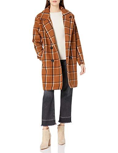 Steve Madden Women's Wool Fashion Coat, Plaid Cognac, L