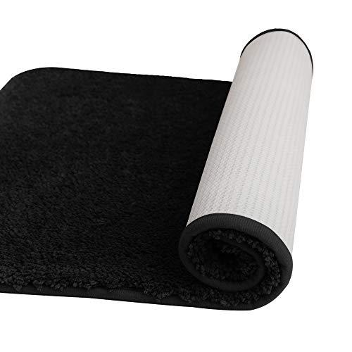 Deconovo Tapis de Bain Antiderapant en Microfibre 70x120cm Noir Tapis Salon Moderne Tapis WC