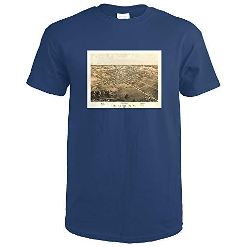 Romeo, Michigan, Panoramic Map 9111 (Navy Blue T-Shirt Medium)