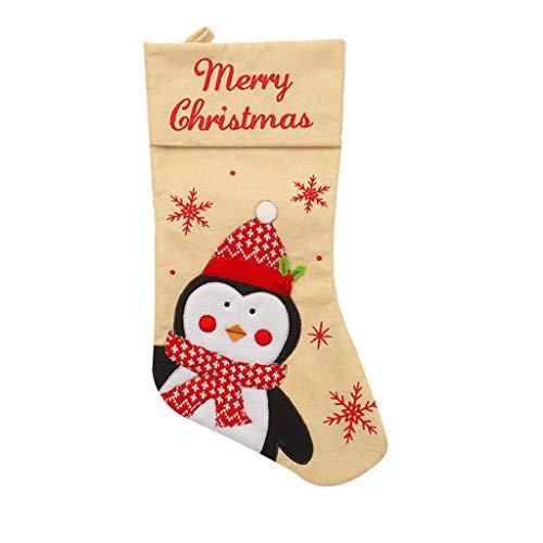 carol -1 Nikolausstiefel zum Befüllen und und Aufhängen(46 * 26cm), Nikolaussocken, Weihnachsstrumpf, Nikolausstrumpf mit Weihnachtlicher Stickerei, Hängende Strümpfe für Weihnachtsdeko