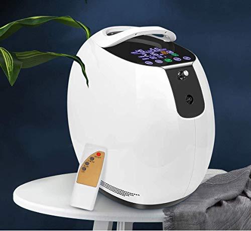 TOPQSC Generador de concentrador de oxígeno portátil 1-6L / min 90% de Alta Pureza Máquina de Purificación de Aire para el Hogar, Viajes, Uso Del Coche (No Alimentado Por Batería)