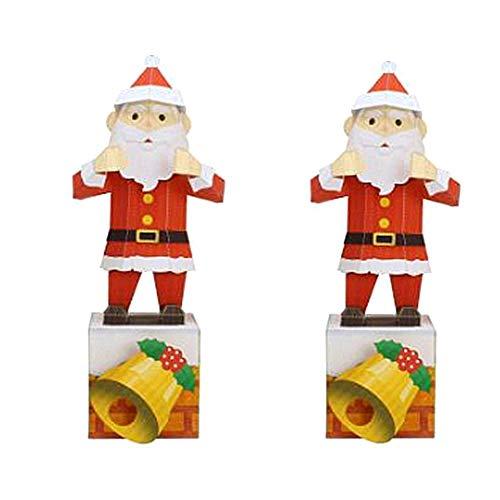 Molinter Origami Papel 3D Craft Paper Navidad papel de manualidades Papá Noel Origami papel de doble cara papel plegable para niños 2 Set