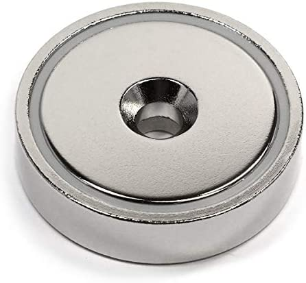 """Neodymium Cup Magnet 405 lb Pulling Power Super Powerful, 0.7 x 2.95"""" Diameter - Magnetic Round Base One Pack, Magnetic Assembly 
