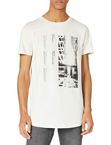 TOM TAILOR Denim 1023830 Print Camiseta, 12906-Lana de Color Blanco, L para...