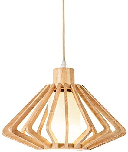 Lámpara de techo de goma de madera moderna minimalista hueco sala comedor comedor luz cálida diámetro 35 cm