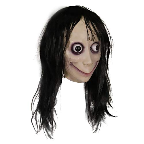 molezu Creepy Costume, Scary Challenge Games Evil Latex Costumes with Long Hair, Halloween Costume Party Props
