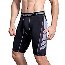 AMZSPORT Men's Fitness Compression Shorts Pro Cool Compression Tights Shorts Functional Underwear Pants (L, Black and White)