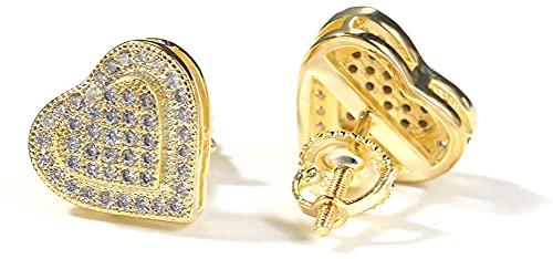 Hip Hop Temperamento S925 Plata Doble Corazón Pendientes Nueva tendencia Retro Pendientes Simple Estilo Moda Pendientes Pendientes Pendientes Para Hombres Y Para Mujeres, dorado, Taille unique