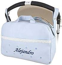danielstore- Bolso Personalizado Bebe Carrito bebe con nombre bordado. Levante azul