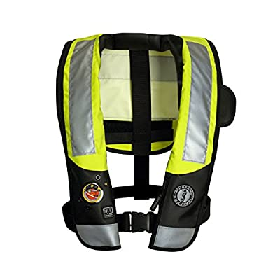 Mustang Survival Corp Inflatable PFD with HIT (Auto Hydrostatic) with Back Flap and ANSI Reflective Tape, Fluorescent Yellow Green