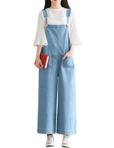 Yeokou Women's Loose Baggy Wide Leg Cropped Denim Jumpsuit Rompers Overalls Pant (X-Small, Light Blue)