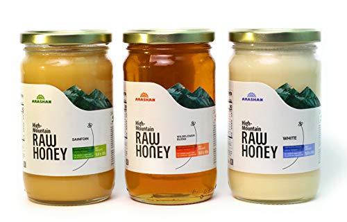 "3 Variety Bundle - Arashan White Honey, Natural Sainfoin Honey, Wildflower Honey From The ""Mountains Of Heaven""   Wild & Raw Unfiltered, Unheated, Unpasteurized Kyrgyzstan Honey - Organic Kosher Honey"