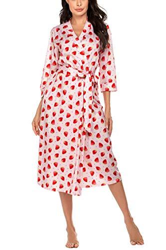 Unibelle Damen Bademantal Baumwolle morgenmantel lang leicht Kimono maxi Dünn Saunamantel weich Robe Tasche Frauen Hausmantel Muster-3 L