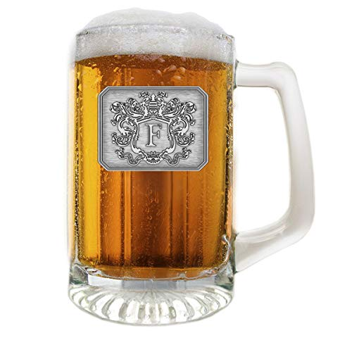 Glass Beer Mug Stein Hand Crafted Monogram Initial Pewter Engraved Large Crest with Letter F by Fine Occasion (F, 25 oz)