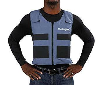 Glacier Tek Sports Cool Vest for Men and Women  Blue Color  - Maintains 59ºF for Up to 2.5 Hours - With Set of 8 Non-Toxic Cooling Packs - Multiple Uses  Running Hiking Fishing Kayak - Easy to Clean