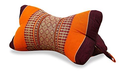livasia Nackenkissen der Marke, Nackenrolle aus Kapok, asiatisches Nackenstützkissen (Knochenkissen) BZW. kleine Nackenrolle, (orange)