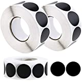 WYKOO 3000 Pieces 1 Inch Black Round Color Coding Circle Dot Labels, Removable Paper Stickers Adhesive Label, Coding Label Stickers for Office, School, Classroom, Kitchen 1000 per Roll (3 Rolls)