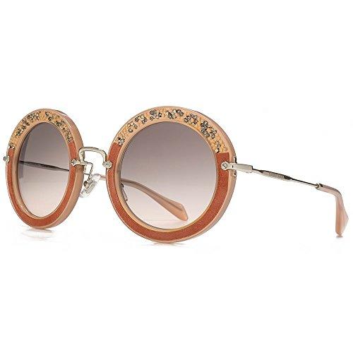 Miu Miu Crystal schaukelt Runde Sonnenbrillen in Rosa Crystal & Wildleder MU 08RS TV14K0 49 49 Pink Grey Gradient