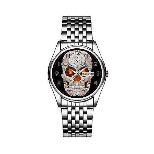 Luxury Brand Stainless Steel Japanese Quartz Analog Display Date Week Waterproof Men's Quartz Watch Business Male Wristwatches Aspen Leaf Skull 11 Wristwatch -  FCWFC, 1868FC-227