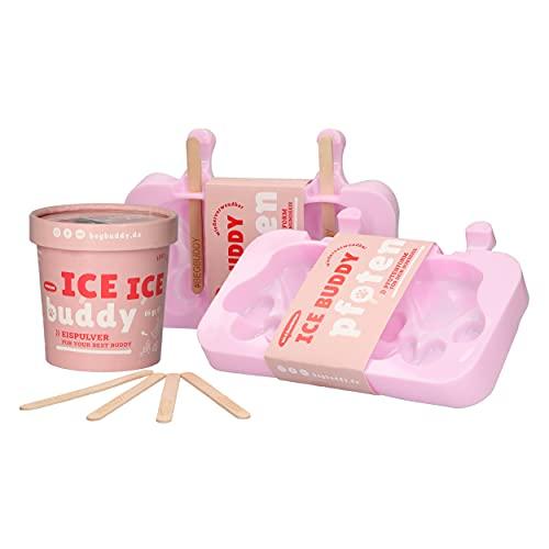 BeG Buddy Hunde-EIS-Set, EIS für Hunde zum Selbermachen, 2X Pfotenform aus Silikon mit Eisstielen, Snack für Hunde, Silikon-Eisform, nur 5 Zutaten ohne Aroma, Abkühlung für Hunde, Blaubeere