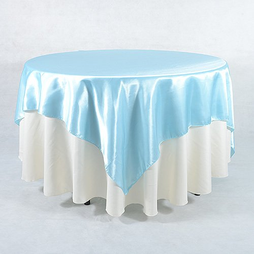 Feuzy 90 inch x 90 inch Satin Tablecloth Table Cover Overlay For Birthday Wedding Party Decor (Light Blue)