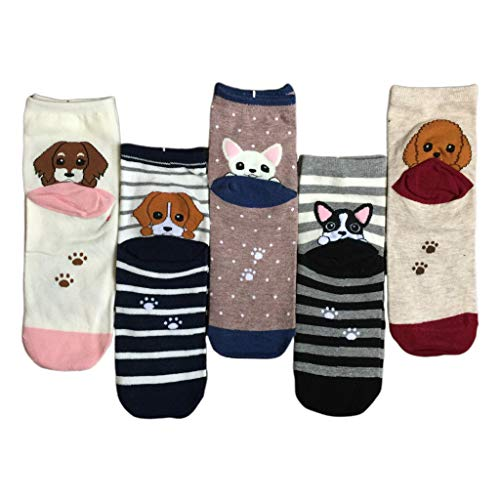 Kemelo 5 Pares de Calcetines de Dibujos Animados Harajuku para Mujer, Calcetines con Estampado de Tobillo de Perro Cachorro Kawaii, Calcetines cálidos, Colores Mezclados