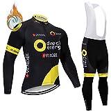 Maillot Cycliste Polaire à Manches Longues + Doublure en Gel 5D Pantalon à Bretelles Homme vélo de Route VTT