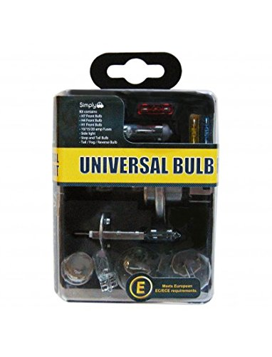 Simply UKB1 Universal Headlight Bulb Kit, Includes 7 Multiple Standard Car Bulbs,H1,H4,H7 and Others Main Types, Convenient Carry Case for Easy Storage