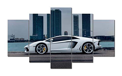45Tdfc Bilder White Lamborghi Aventador Supercar Leinwandbilder Moderne Kunst, Landschaft Wanddeko Kunstdrucke, Wandbilder XXL 200x 100 cm, Tag Nacht Bild
