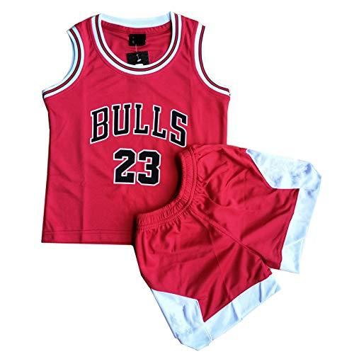Daoseng Chico Hombre Michael Jordan # 23 Chicago Retro Pantalones Cortos de Baloncesto Camisetas de Verano Uniformes y Tops de Baloncesto Uniformes (Rojo, XL/Niño Altura 145-155CM)