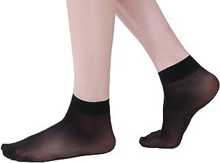 Eabern 10 Pairs Women's Silky Sheer Ankle High Crew Socks Reinforced Toe