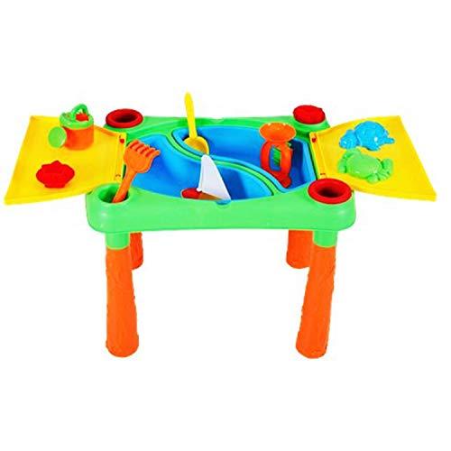 DRULINE Sand und Wasser Spieltisch, Sandtisch mit Klappbarem Deckel, Wassertisch inkl.Kinder Sandspielzeug, Sandkastentisch,Zubehör, Strandspielzeug ab 3 Jahren 100 x 49x 46 cm Bunt (18-TLG)