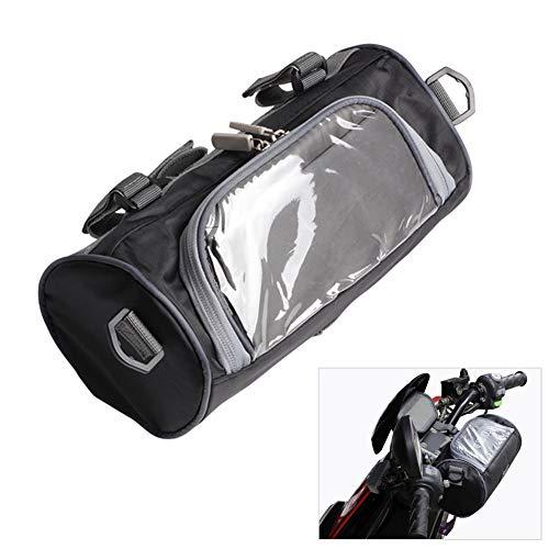 Bolsa de almacenamiento de horquilla delantera para manillar de motocicleta con pantalla táctil transparente bolsa pequeña y correa de hombro extraíble ajustable