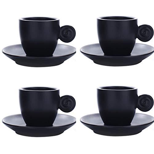 jinrun Taza Graciosa 3 oz Espresso Copas Conjunto de 4 con la adecuación de platillos de Porcelana de Primera Calidad Italiana Caffè de café, Taza de café Turco, Regalo, Mate Tazas Personalizada