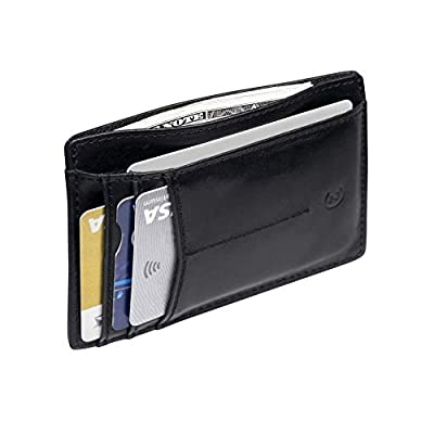 Slim Minimalist Wallets Front Pocket Wallet Premium Genuine Leather Card Holder Wallet RFID Blocking Credit Card Holder for Men and Women (8 Pocket) by Zion & Co.
