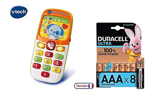 Lot Vtech Baby Smartphone Bilingue + Duracell Ultra Power Piles Alcalines Type AAA, 8 Piles