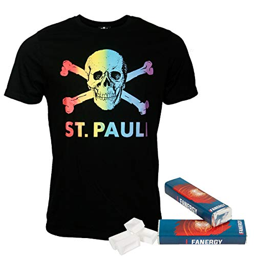 FC St. Pauli Camiseta arcoíris CSD negra + 2 camisetas Fanergy Uva azúcar (XXL)