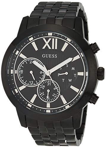 GUESS Reloj analógico de cuarzo para hombre con correa de acero inoxidable, negro, 22 (Modelo: GW0068G4)