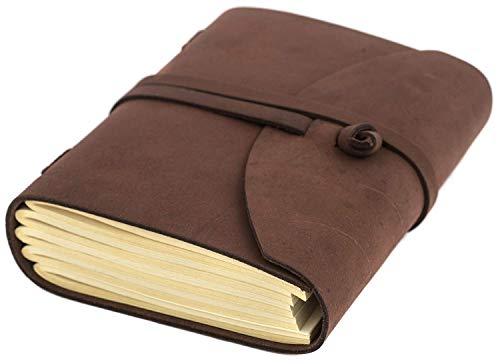 INDIARY Notizbuch aus echtem Leder und handgeschöpftem Papier Wildleder-A5-Braun
