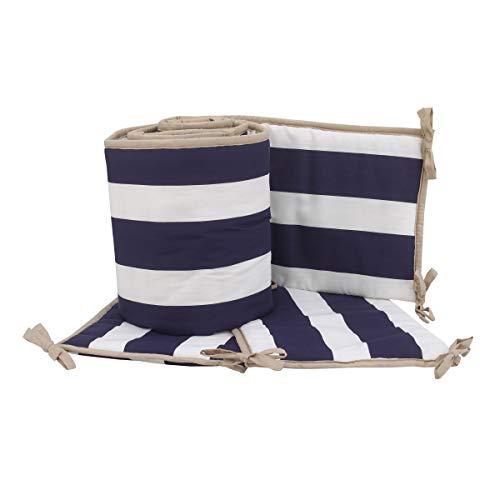 Sadie & Scout Crib Bumper Pads, 4 Piece Navy Blue Bumper, Classic Hampton Striped Design, Protector de Cuna