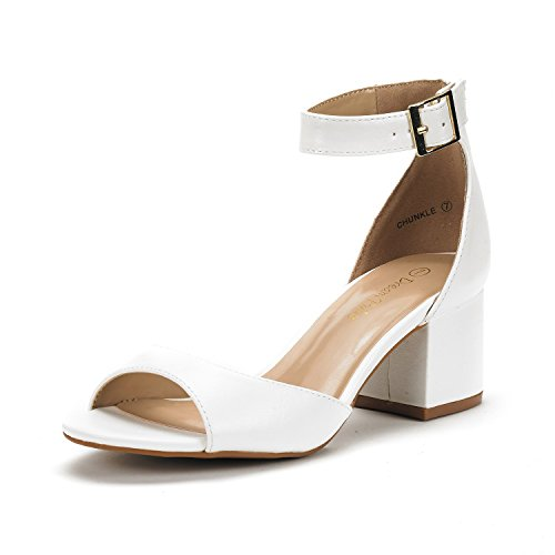 DREAM PAIRS Women's Chunkle White Pu Low Heel Pump Sandals Ankle Strap Dress Shoes - 7 M US