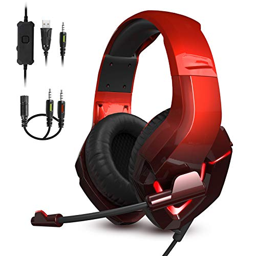 Gaming Headset with Microphone, 3.5 mm Stereo Headset with Noise Canceling Mic, Over-Ear Headset with LED Light, Memory Foam Earmuffs for PC PS4 PS5 Xbox One Nintendo Switch Mac Laptop
