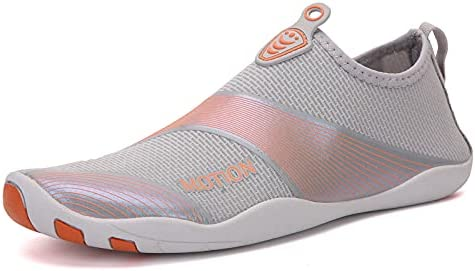 Water Shoes for Women Size 6 Gray/Orange Outdoor Sports Barefoot Quick-Dry Aqua Yoga Socks for Surf Swim Summer Water Sport Shoes