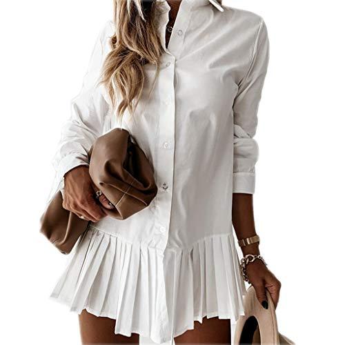 Loalirando Abito Donna Maniche Lunghe Camicia Elegante Donna Ufficio Casual Cerimonia (Bianco, M)