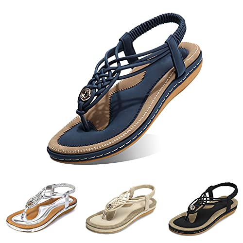 gracosy Women Summer Flat Sandals, Beach Sandals for Women with Ankle Strap Elastic T-Strap Flip Flops Comfort Summer Shoes Dressy Thongs Wide Width Casual Open Toe Gladiator Sandal Navy 8 B(M) US