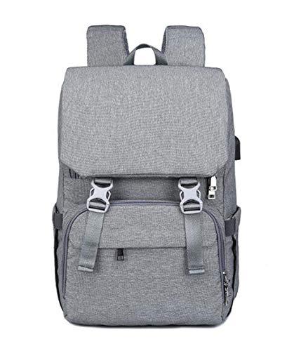 Etyybb Bolso cambiador para bebé Mochila Impermeable Bolsa de viaje para pañales para bebé, elegante Mochila para pañales de gran capacidad con cambiador Puerto USB-Gris oscuro_L