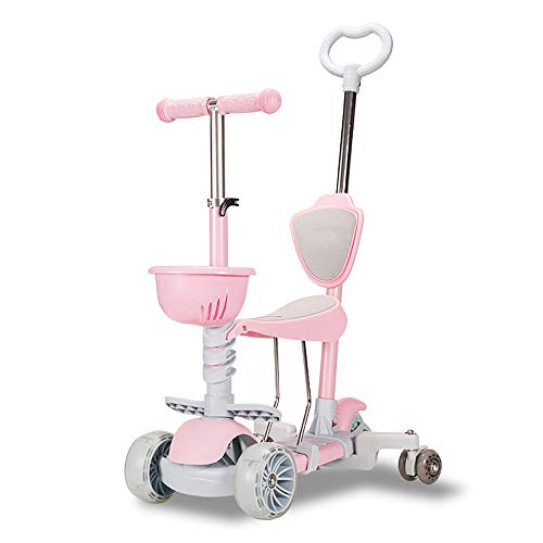 Kick Scooter Multifuncional, Altura Ajustable, Asiento móvil, con Extra-Ancha de la PU Ruedas Intermitente, para niños de 1 a 12 años de antigüedad,Rosado