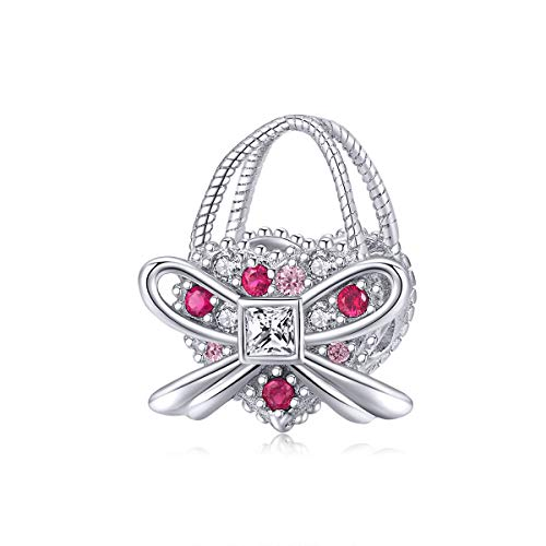 CHENGMEN Ladies Handbag with Bow 925 Sterling Silver Shopping Bag Bead Charms Fits Bracelets Pink CZ Mothers Day Charms for Mum Jewellery Gifts for Her Women Wife Girlfiend