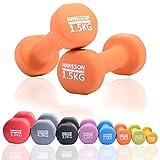Hansson.Sports Aerobic Hantel Neoprenhantel Hantelgewicht Paar- 2x1,5kg orange